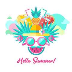 Hello summer. Vector clipart.