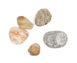 Sea stones isolated on white background, top view