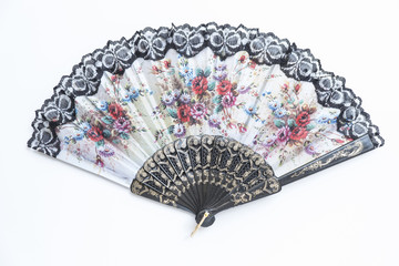 Traditional handheld fan on white background.