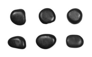Pile black rocks isolated on white background, top view