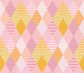 Tender seamless pattern. Elegant patchwork in pink and yellow colors.