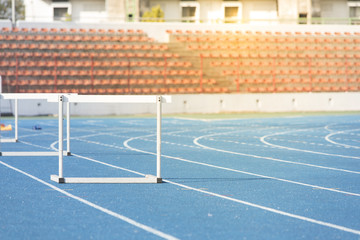 Track Running with  hurdle jump