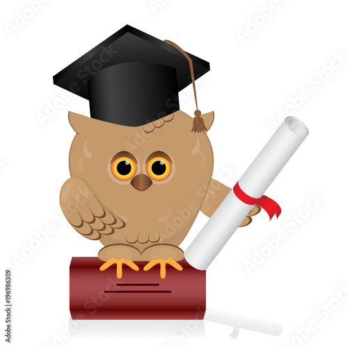 Wise Owl Sits On A Book Of KnowledgeBird With Black Graduate Hat Holding
