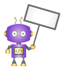 Robot holding blank sign vector