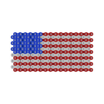 USA, United States or American Flag Made of Vector Bike or Bicycle Chain