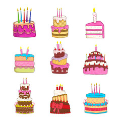 Birthday cake vector collection