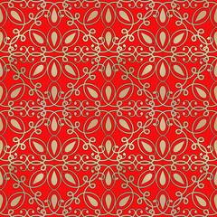 Vector gold seamless pattern on a red background