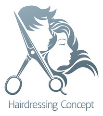 Hairdresser Hair Salon Scissors Man Woman Concept