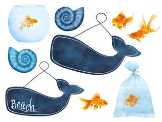 Beach fish bright clip art white isolated