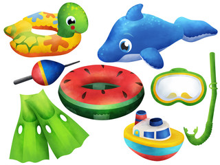 Bright inflatable beach children toys clip art on white background