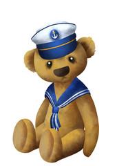 Cute little teddybear sitting in a sailor hat