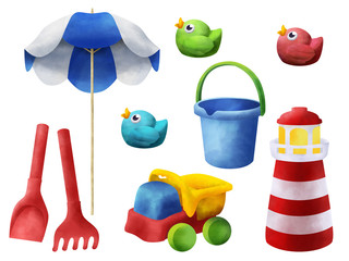 Bright sand beach children toys clip art on white background