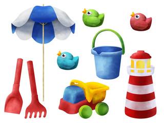 Bright sand beach children toys clip art on white background