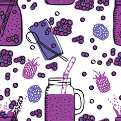 Food Collection Blueberries smoothie Healthy fresh drinks Jar Drinking Glasses with Handle Seamless pattern