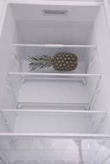 Pineapple inside in empty clean refrigerator