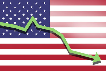 green arrow fall down on the background of the flag USA United States America