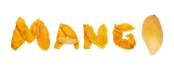 Dehydrated mango slices and fresh raw mango isolated on white. Dried fruits, mango inscription.