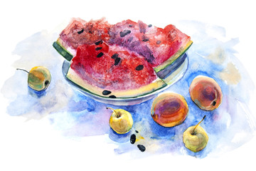 Pieces of watermelon with peaches and apples painted with watercolors