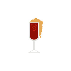 vector flat glass of sparkling alcohol drink and water drops mockup closeup. Ready for your design isolated illustration on a white background.