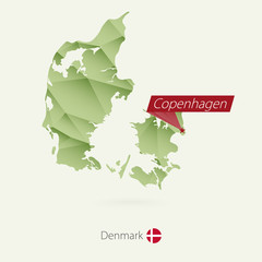 Green gradient low poly map of Denmark with capital Copenhagen