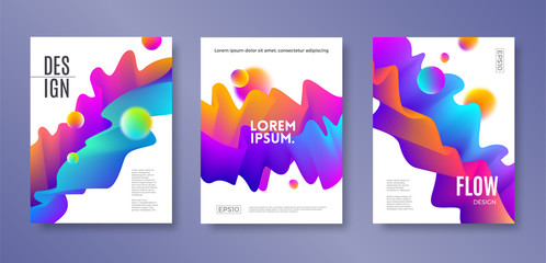 Set of cover design with abstract multicolored flow shapes. Vector illustration template. Universal abstract design for covers, flyers, banners, greeting card, booklet and brochure.