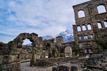 Old Roman Amphitheatre in Aosta, Italy