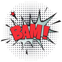 Bam comic speech bubble for emotion isolated on white background vector illustration. Sound effect, comics book balloon, cartoon lettering in pop art style