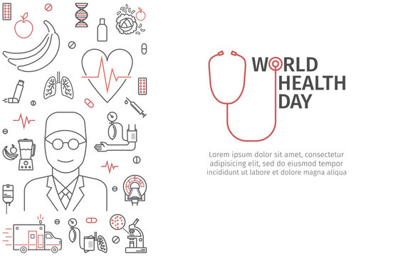 World Health Day heart and stethoscope design. Line vector banner.