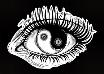 Beautiful eye with pupil as Yin and Yang symbol.