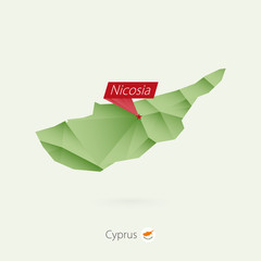 Green gradient low poly map of Cyprus with capital Nicosia