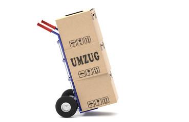 Sackkarre mit einem Stapel Umzugskartons - fahrend