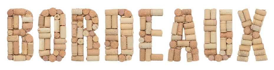 Wine region of France Bordeaux made from wine corks Isolated on white background