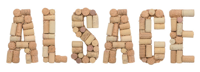 Wine region of France Alsace made from wine corks Isolated on white background