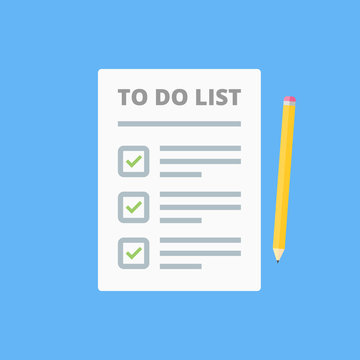 Claim form, to do list. Flat style isolated on a blue background. Vector illustration