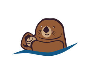 Sea otter with a ball. Vector illustration