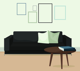 Modern minimalistic scandinavian style home interior. Furniture for living room sofa couch lamp carpet table. Indoor concept vector illustration