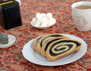 Homemade roll with poppy seed filling