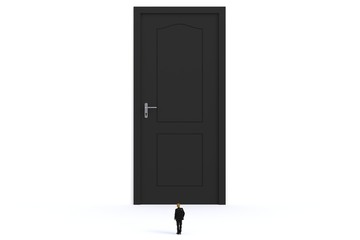 Success concept with businessman, Image of miniature businessman standing in front of black door on white wall background, 3D rendering