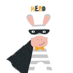 Funny zebra superhero kids graphic. Vector hand drawn illustration.