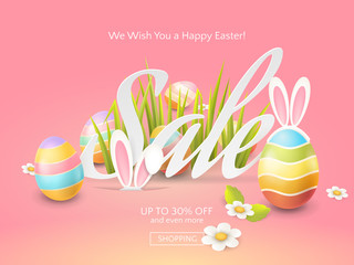 Vector flyer for Easter discount offers with colored 3d eggs, grass, chamomiles and cartoon bunny ears. Holiday template for design of sale web banners or print posters on the pink background.