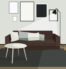 Living room apartment design concept. Modern home interior dark colors with furniture couch lamp table vector illustration