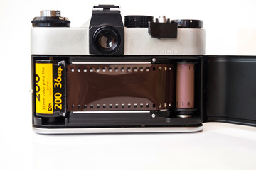 A camera with a charged film