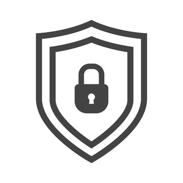 Vector shield icon, emblem with lock. Security icon collection. Protection logo. Сryptocurrency protection sign. Reliability crypto wallet. Crypto currency security web button. Interface element.