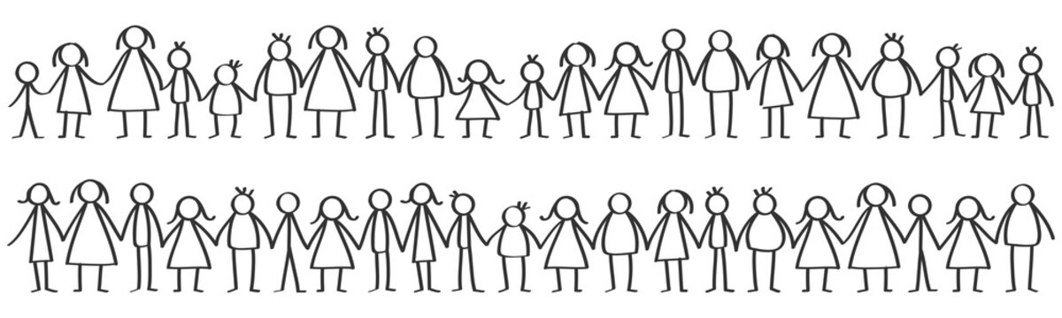 Vector illustration of black male and female stick figures standing in rows holding hands isolated on white background