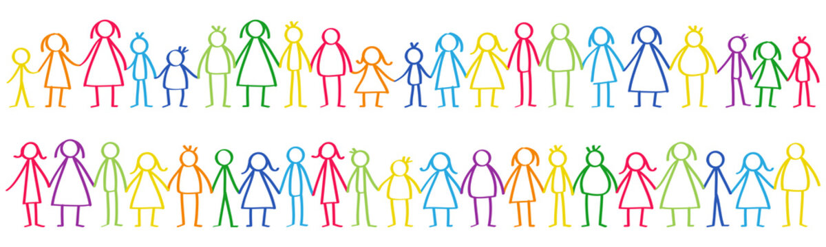 Vector illustration of colorful male and female stick figures standing in rows holding hands isolated on white background