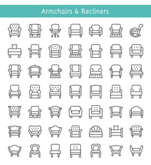 Armchairs, lounges & recliners. Line icons. Vector illustration.