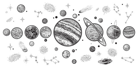 Planets and space hand drawn vector illustration. Solar system with satellites.