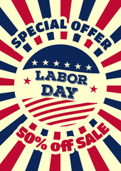 Labor day sale promotion advertising banner template. Vintage style. Vector illustration.