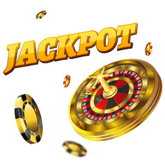 A big win in the casino is the jackpot. Against the background of chips and game roulette