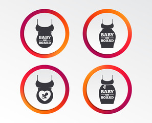 Baby on board icons. Infant caution signs. Child pacifier nipple. Pregnant woman dress with big belly. Infographic design buttons. Circle templates. Vector